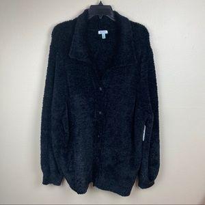 NWT 3X Susina black cozy button up cardigan plus